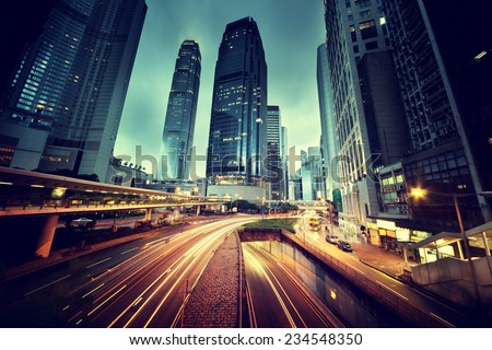 traffic in Hong Kong at sunset time  Royalty-Free Stock Photo #234548350