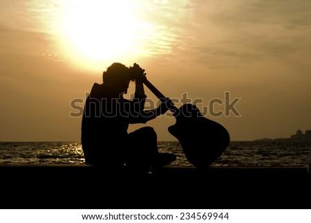 Guitarist Silhouette #234569944