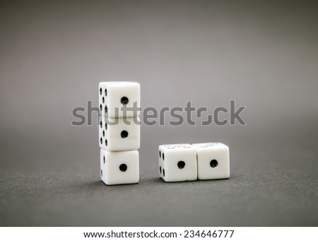 Five dice on dark background #234646777