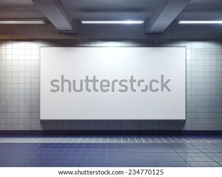 big horizontal poster on metro station