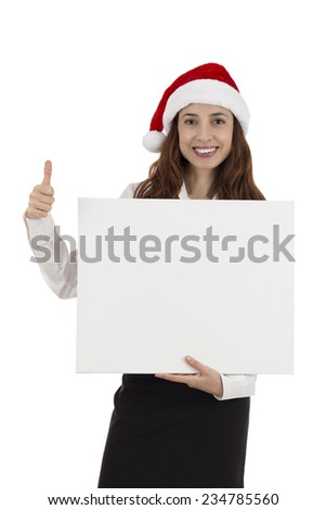 Christmas business woman giving thumbs up and showing an advertising placard #234785560