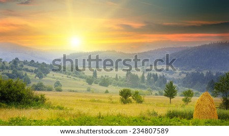 beautiful mountain landscape and sunrise #234807589