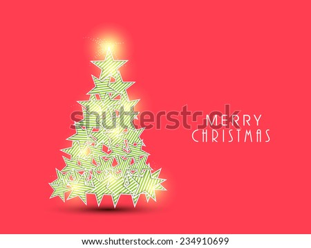 Merry Christmas celebration greeting card design with shiny X-mas Tree made by beautiful stars on red background. #234910699