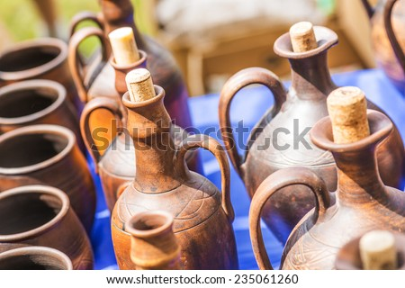 Russian traditional clay pots of manual work. #235061260