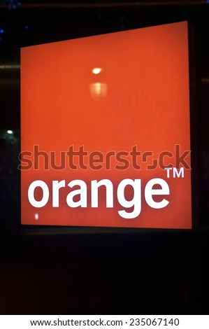 PARIS-NOV 22:Orange logo on November 22,2014 in Paris.Orange is a French multinational telecommunications corporation. It is a global provider for voice, video, data, and Internet telecommunications. #235067140