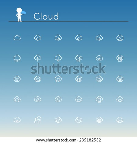 Cloud and Server line Icons set. Vector illustration. #235182532