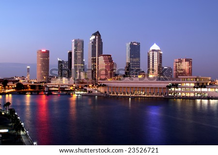 Tampa Skyline - Panorama night view on modern skyscrapers in business downtown