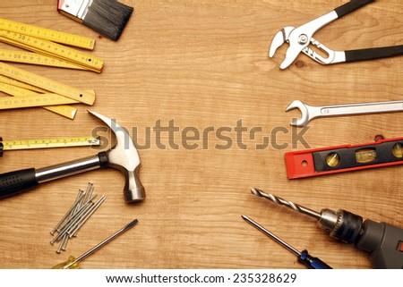 Assorted work tools on wood #235328629