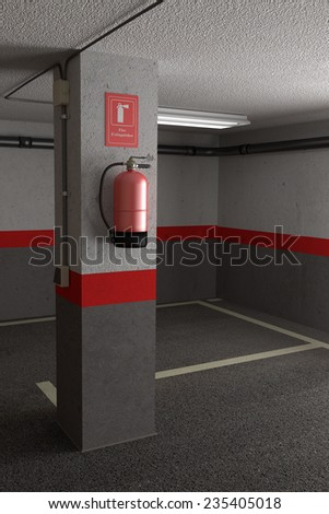 3d rendering of a fire extinguisher on a dirty wall #235405018