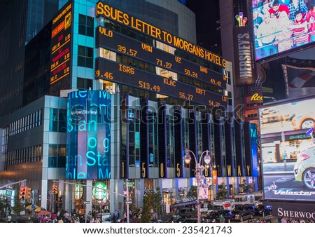 NEW YORK CITY - JUN 14: Famous lights and ads of Times Square on June 14, 2013 in New York City. Approximately a third of a million people pass through Times Square daily. #235421743