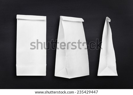 Paper bags collection on a chalkboard #235429447