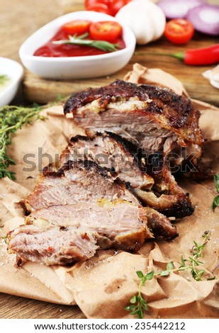 Delicious grilled meat on table #235442212