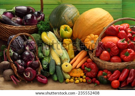 Red, green, yellow and purple  vegetables still life/ vegetable background #235552408