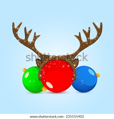 Funny mask with reindeer horns on Christmas ball, illustration. #235555402
