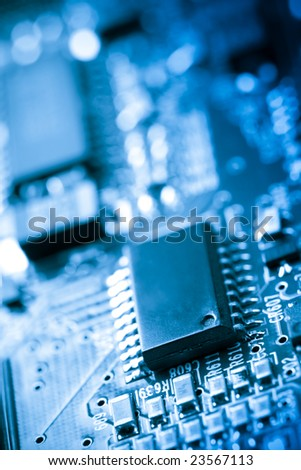 Electronic circuit board with silicon chips #23567113
