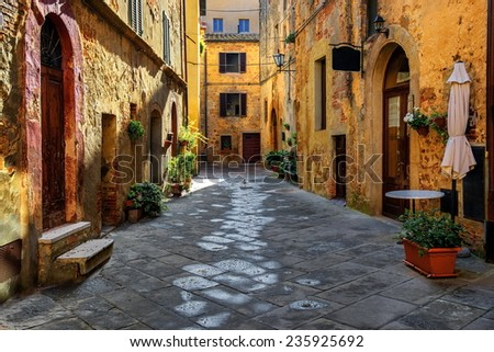 Old beautiful city in the sun of Tuscany, Pienza, Italy #235925692