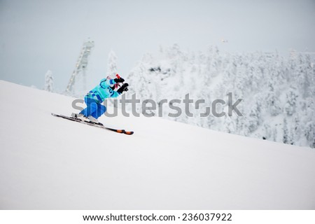Skiing, winter, child -  young  girl skier in winter resort #236037922
