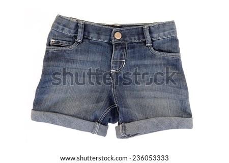 A close up shot of denim shorts #236053333