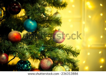 Decorated Christmas tree on blurred backgroun #236313886