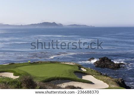 PEBBLE BEACH, CALIFORNIA - SEPTEMBER 23, 2014 : The public golf course of Pebble Beach, near Monterey, California, USA, September 23, 2014, in  Monterey, California, USA #236688370