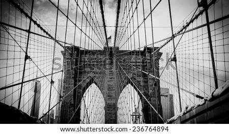 Brooklyn bridge, dramatic black and white photo
