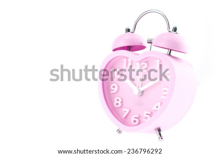 pink heart clock with bell on white background #236796292