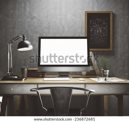 Stylish workspace with computer and posters on home or studio #236872681