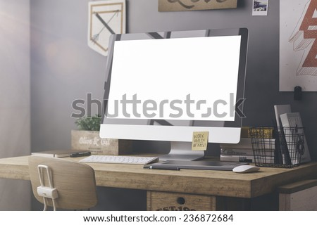 Stylish workspace with computer and posters on home or studio #236872684