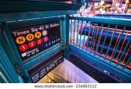 Times Square Entrance subway station at night - New York City. #236883112