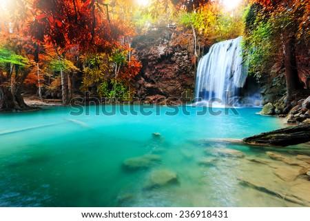 Beautiful waterfall in deep forest, Erawan National Park in Kanchanaburi, Thailand #236918431