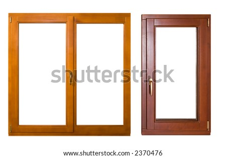 two wooden windows (with clipping path) #2370476