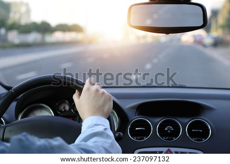 Sunny day on the road Royalty-Free Stock Photo #237097132