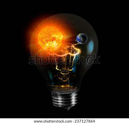 "natural sun energy in light bulb isolated ""Elements of this image furnished by NASA  #237127864"