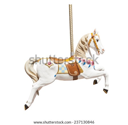 Old wooden carousel horse isolated on white background Royalty-Free Stock Photo #237130846
