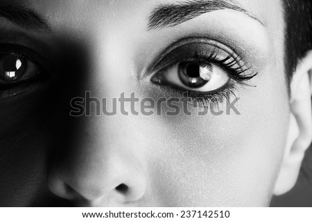 Macro picture of the eye of a woman. Black and white photography.