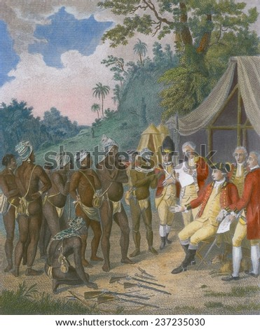Treaty conference between the black Carib chiefs of St Vincent Island with British soldiers in 1773, 1801 engraving with modern color. #237235030