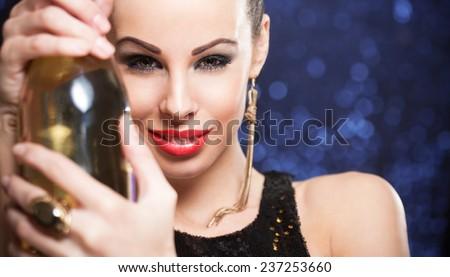 Portrait of a smiling happy festive brunette beauty. #237253660