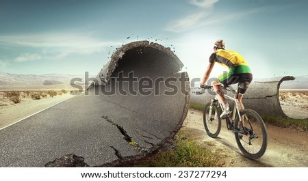 Sport  background. Unreal mountain bike/ #237277294