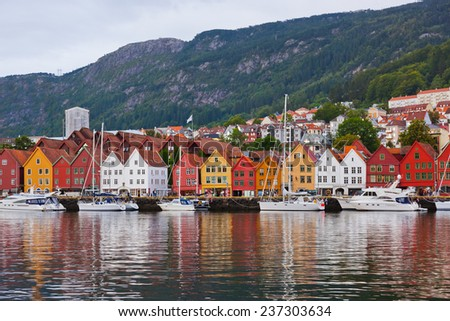 Famous Bryggen street in Bergen Norway - architecture background #237303634