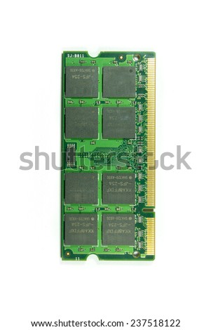 Photo of DDR RAM memory module isolated on white background #237518122