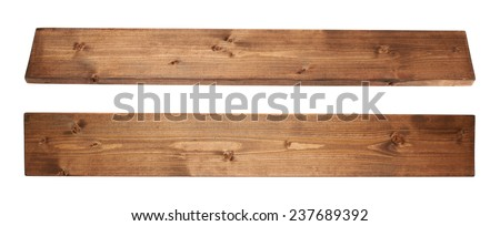 Brown paint coated pine wood board plank isolated over the white background, set of two foreshortenigns Royalty-Free Stock Photo #237689392