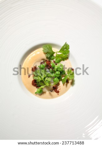food gourmet green fresh peas squid carrot cream #237713488