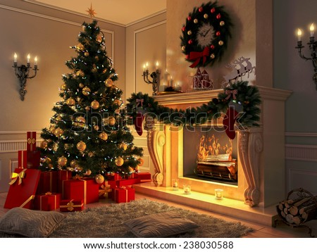 3D rendering New year interior with Christmas tree, presents and fireplace. Postcard. New year 2018