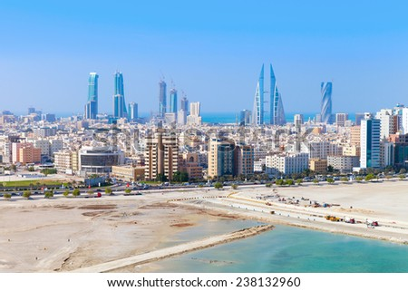 Bird view of Manama city, Bahrain. Skyline with modern skyscrapers standing on the coast of Persian Gulf