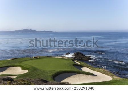 PEBBLE BEACH, CALIFORNIA SEPTEMBER 23, 2014 : The public golf course of Pebble Beach, near Monterey, California, USA, september 23, 2014, in  Monterey, California, USA #238291840