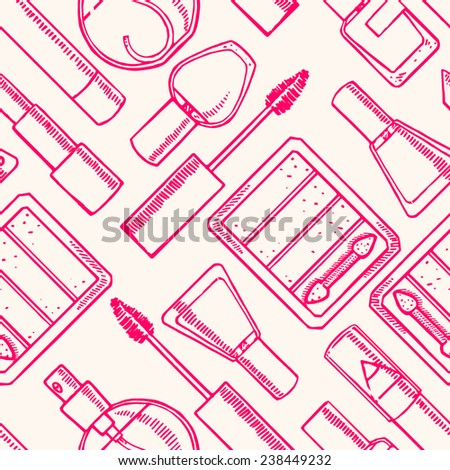 Seamless background with sketch different decorative cosmetics. Lipstick, nail polish, eye shadow #238449232