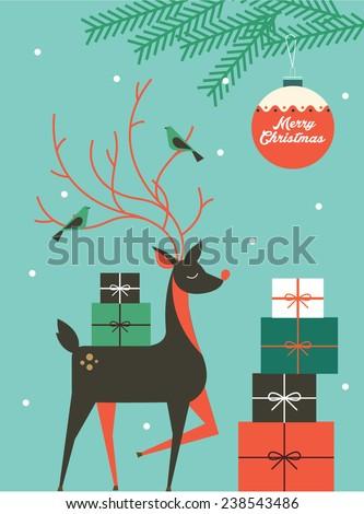 reindeer/christmas vector/illustration template #238543486