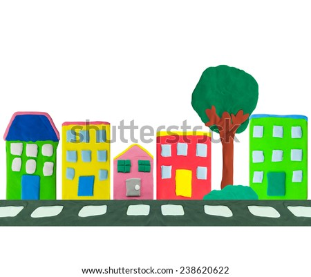 colorful Town building and street made from plasticine