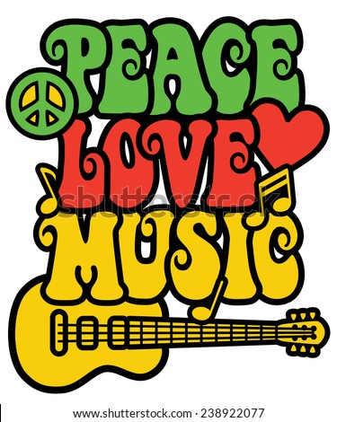 Reggae-inspired Peace Love Music text design with guitar, peace symbol, heart and musical notes.