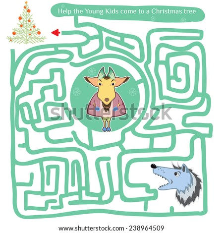 Funny labyrinth. Help the Young Kids come to a Christmas tree. Illustration with tangled lines. Funny cartoon character. illustration. Isolated on white background